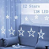 Twinkle Star 12 Stars 138 LED Curtain String Lights, Window Curtain Lights with 8 Flashing Modes Decoration Christmas, Wedding, Party, Home Decorations, White