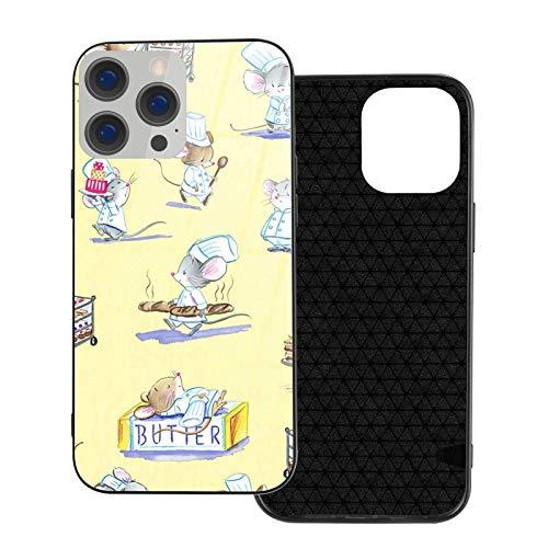Estuche para teléfono Pastry Chef Mice Carcasa para teléfono para iPhone 12/12 Mini / 12 Pro / 12 Pro MAX Carcasa Trasera de Vidrio Templado + TPU para iPhone 12 Pro-6.1 Pulgadas