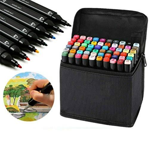 HanQix Farben Marker Stifte Grafitti 41/60 Farbige Twin Tip Textmarker für Studenten Manga Kunstler Sketch für Sketch Marker Pens Set Mit Aufbewahrungstasche (60 Farben(Schwarzer))