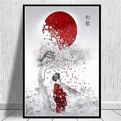 Kit De Pintura 5D De Diamantes,Diy Kit Completo De Puntada De Cruz De Perforación Para Niños Adultos, Japonés Zen Geisha Números De Día Rojo Bordado Crystal Rhinestone Pasted Pintura Artes Art