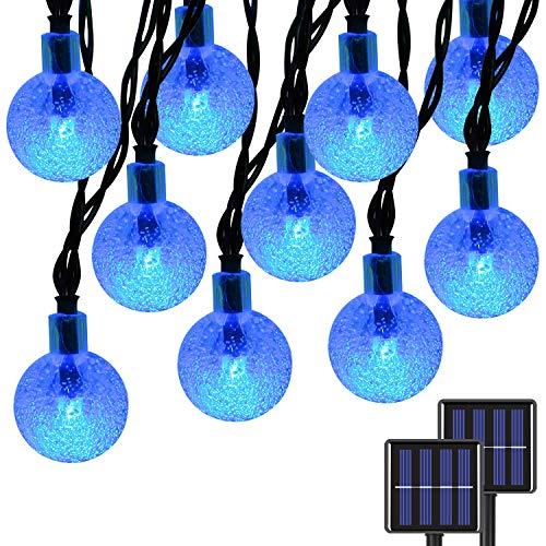 2-Pack Globe Solar String Lights Outdoor, Upgraded Ultra-Bright 60 LED Crystal Ball Solar Christmas Lights, IP65 Waterproof 8 Modes Outdoor Solar Lights for Patio, Garden, Gazebo, Tree (Blue)