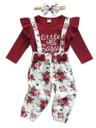 3Pcs Set Newborn Baby Girls Long Sleeve Cotton Tops Bow Floral Suspender Pant Headband Outfits (Red Wine, 18-24 Months)