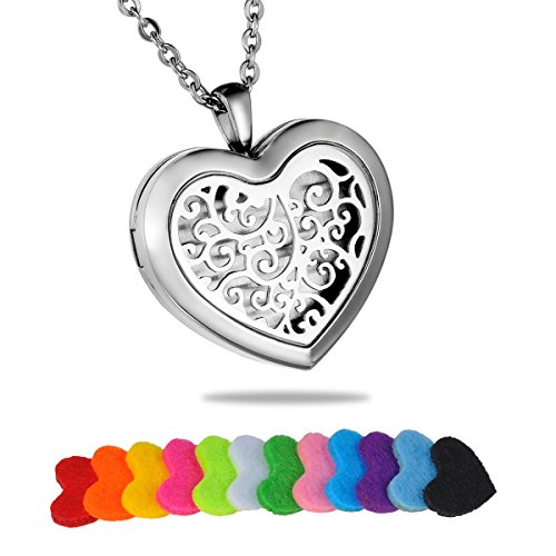 HooAMI Aromatherapy Essential Oil Diffuser Necklace - Stainless Steel Retro Filigree Heart Locket Pendant