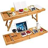 luxury bamboo bathtub caddy bath tub tray bridge shower shelves organizer tray with stand foot,