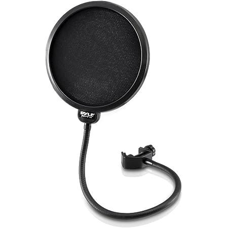 Pyle Studio Microphone Pop Filter 4-Layer Mesh Screen, Wind Screen Filtration 360° Flexible Gooseneck Holder