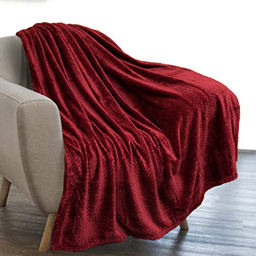 PAVILIA Luxury Flannel Fleece Blanket Throw Burgundy Wine Red | Soft Decorative Jacquard Weave Microfiber Throw for Bed Sofa Couch | Velvet Textured Leaves Pattern | Lightweight Plush Cozy | 50'x60'