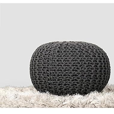 RAJRANG PUF00001 Hand Knit Pure Cotton Stuffed Pouf