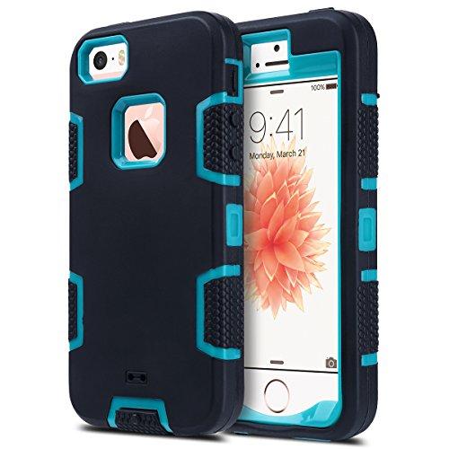 ULAK Funda iPhone SE 2016, iPhone 5/5S Estuche 3en1 a Prueba de Golpes de Estuche Parachoques de Resistente Caso de protección Suave de Silicona para Apple iPhone 5/5S/SE (2016) - Negro Azul
