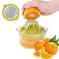 Piduules 手動シトラスレモンジューサー オレンジプレスハンド絞り器 クリア計量カップ付き 12オンス オレンジ グリーン PDS-OG001