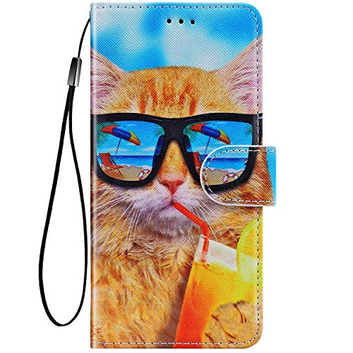 Felfy Kompatibel mit LG K10 2018 / K11 Hülle Bunte Painted Muster Schutzhülle,Handyhülle für LG K10 PU Lederhülle Magnet Klapphülle Tasche mit Kartenfach/Standfunktion - Coole Katze