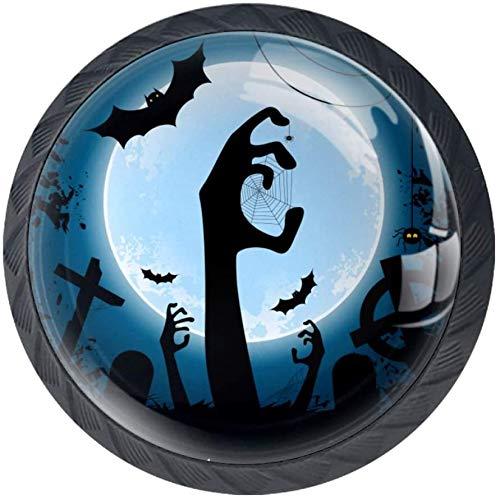 Fiesta De Zombis De Halloween 4PCS Pomo de armario, tirador para cajón, Pomos y Tiradores de Muebles,Pomos, pomos, para Puertas, Armarios de Cocina,Cajones - un solo agujero