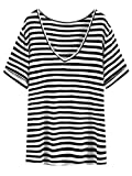 SheIn Women's Summer Short Sleeve Loose Casual V Neck Tee T-Shirt Tunic Tops Black Stripes Large