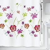 """Spirella Anti-Schimmel Duschvorhang - Anti-Bakteriell, waschbar, wasserdicht, Polyester, """"Meadow"""" 180x200cm Weiß Blumen"""