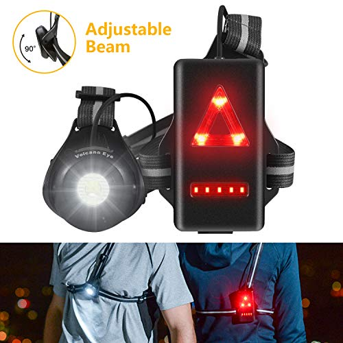 Running Lights for Runners & Joggers - Outdoor Night Chest Running Light with Adjustable Pivoting Beam for Early Morning Runs & Jogs - Run Light for Running, Jogging, Dog Walking, Camping, Hiking