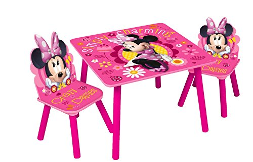 Global Industry 85897-S Lot de Table + 2 Chaises, MDF, Rose, Taille Unique
