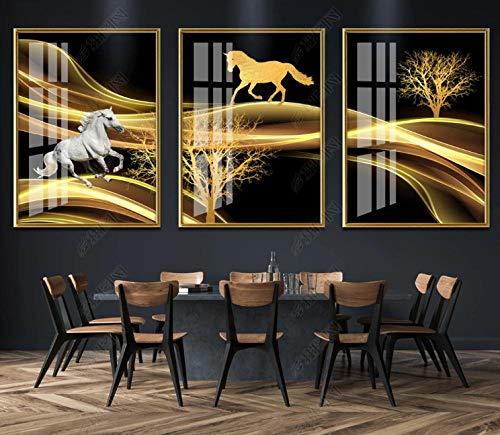 Wallpaper M Luz Moderna de Lujo Negro Oro Caballo Porche Fondo Sala decoración Pintura Ancho 40 X Altura 60 cm X3