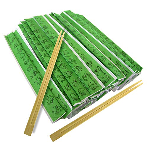 [250 Pack] Wooden Chopsticks 9 Inches - Disposable Premium Bamboo Chopstick with Animal Zodiac Wrapper, for Sushi, Ramen Noodles, Fortune Cookies, Chinese, Japanese, Korean Asian Food Restaurant, Home