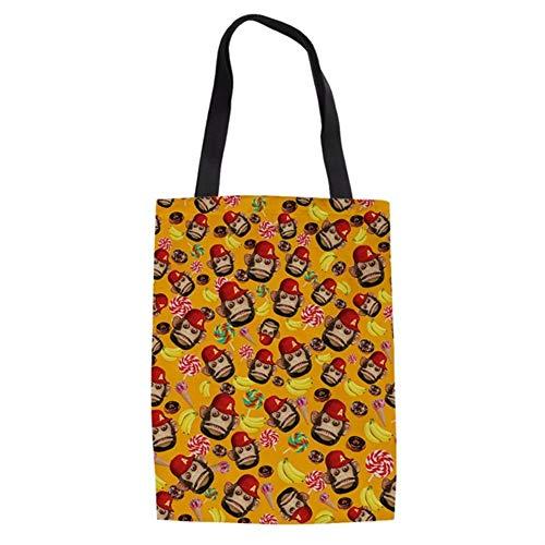 ZXXFR Tote Bag Leuke Cartoon Orangutan Banaan Vrouwen Tassen Merk Ontwerp Dames Linnen Winkelen Schoudertas Herbruikbare Doek Handtas