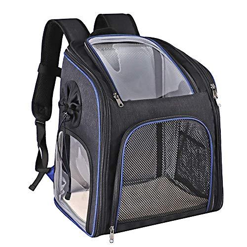 YYhkeby Mochila transportadora de mascotas transparente y visible de PVC con ventana, impermeable, transpirable, bolsa de malla para viajes al aire libre Jialele (color: azul)