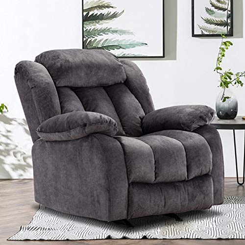 Rocker Recliner Chair, Comfortable Manual Reclining Chair for Living Room, Contemporary Single Sofa Chair, Heavy Duty Recliner Chair for Elderly, Gray