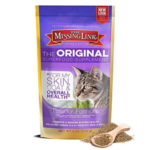 The Missing Link - Original All Natural Superfood Cat Supplement – Balanced Omega 3 & 6 to support Healthy Skin Coat, Immunity and Overall Health – Feline Formula – 6oz Resealable Bag