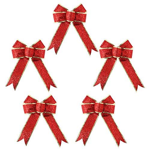 SUPVOX 5 unidades / Pack grande de lazo de Navidad con purpurina con purpurina de tela dorada cinta de regalo árbol decoraciones regalos niños (rojo)