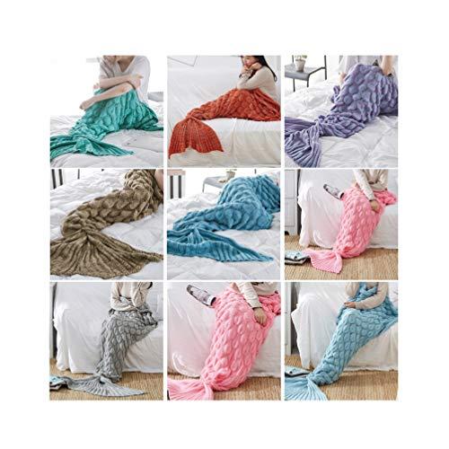 Preisvergleich Produktbild HYwot Fischschuppen Meerjungfrau Decke Meerjungfrau Schwanz Strickdecke Linie Decke Decke Fischschwanz Decke, Lightpurple, 90x195cm