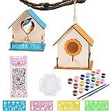 FGen Maison D'oiseau Bricolage Kit pour Enfant, DIY Maison Oiseau Graffiti Peinte en Bois avec 12 Pigments de Couleur, 2 Stylos, 1 Palette pour Jardin, Ecole pour Garçon (2 Morceaux de nid d'oiseau)