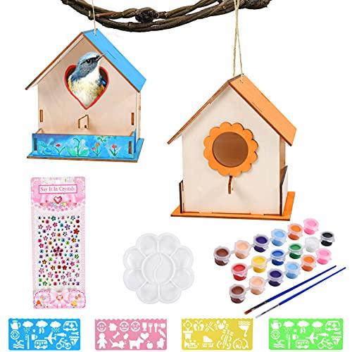 FGen Casa de Pájaros Madera Manualidades Kit, Casa pájaros Pintar Bricolaje, DIY Casas de Pájaros con Herramientas de Pintar Juegos Kit Regalo para Niños (2 Piezas de Nido de pájaro)