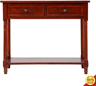 Series Console Table Traditional Design with Two Drawers and Bottom Shelf Acacia Mangium, Cherry
