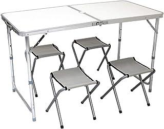 MERMONT アウトドアテーブル チェア4脚セット 幅120cm アルミ 折りたたみ 高さ調整可能 パラソル用ホール付き 軽量