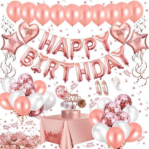 JSTC Geburtstagsdeko Rosegold Deko Geburtstag Mädchen, Happy Birthday Girlande Decorations mit Luftballons, Folienballon, Banner, Buchstaben Ballons, Tischdecke, Tischdeko Konfetti, Topper für Party.