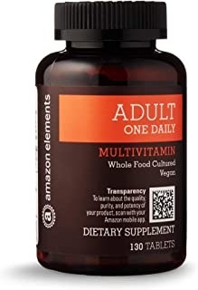 Amazon Elements Adult One Daily Multivitamin, 59% Whole Food Cultured, Vegan, 130 Tablets, 4...