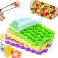 mosotech stampo ghiaccio silicone con coperchio - 3 pezzi bpa -free 37 cubetti ghiaccio, rilascio facile stampi per ghiaccio - può essere utilizzato in congelatore e forno