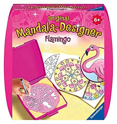 Ravensburger Mandala Designer Mini Flamingo 28520, Zeichnen lernen für Kinder ab 6 Jahren, Kreatives Zeichen-Set mit Mandala-Schablone für farbenfrohe Mandalas