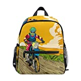 Jojogood Let's Ride Dirt Bikes Toddler Kids School Backpack Cute Durable Kindergarten Shoulder Bag