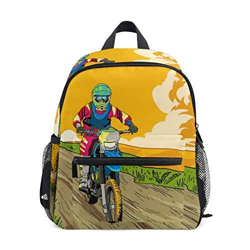 Jojogood Let's Ride Dirt Bikes Toddler Kids School Backpack Cute Durable Kindergarten Shoulder Bag