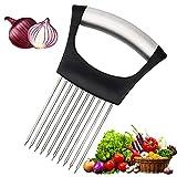 Food Slice Assistant Onion Holder Slicer, Oalushf Kitchen Gadgets, Stainless Steel Vegetable Holder Tomato Slicer Meat Slicer, Cutting Kitchen Tools Onion Peeler