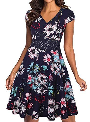 Owin Elegantes Cocktailkleid für Damen, Vintage, floral Spitze, ausgestellt, A-Linie, ärmellos, für Swing und lockere, feierliche Anlässe Gr. X-Large, Marineblau mit Blumenmuster