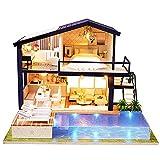 Hakeeta Maison de poupée Bricolage en Bois, DIY Grande Villa avec Tous Les Meubles,avec lumières + Piscine privée,Villa de poupée, Jeu de décompression,4 LED Bleues et 9 LED Jaunes (avec Housse)