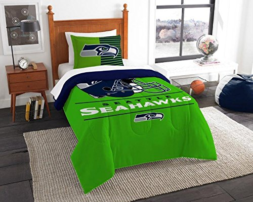"""Seattle Seahawks - 2 Piece TWIN Size Printed Comforter Set - Entire Set Includes: 1 Twin Comforter (64""""x86"""") & 1 Pillow Sham - NFL Football Bedding Bedroom Accessories"""