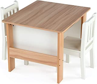 Tot Tutors TC604 Journey Wood Table and 2 Chairs Set with Book Storage-Natural/White