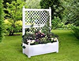 Jardinera grande con celosía (2 piezas) 100 cm, color blanco