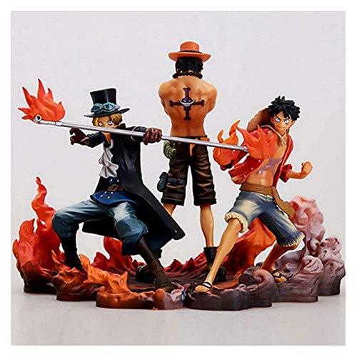 NOCEVCX 14 cm Pirata Tres Hermanos Sabois Luffy Permanente PVC Anime Dibujos Animados Juego Modelo Estatua Estatuilla Juguete Juguete Colección Decoración Regalo para Familia y Amigos