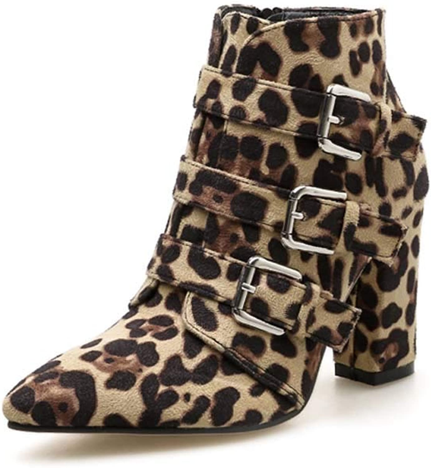 Women Leopard Dot Print Toe Zip Belt Buckle Thick Pointed Booties shoes Boots Ladies Martin Ankle Boots