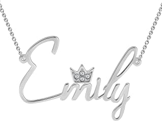SOUFEEL Personalized Name Necklaces for Women Swarovski Crystal Pendant with Crown 925 Sterling Silver Nameplate Custom Gi...