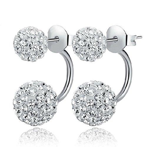 Pinzhi Joyería de moda 1 par Mujeres Señora elegante perla Rhinestone Ear Stud Pendientes