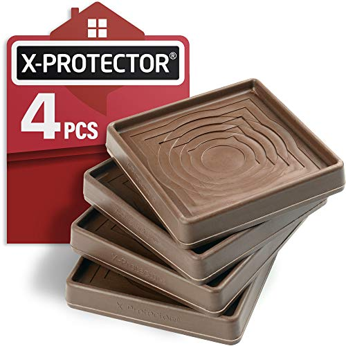"""Furniture Cups X-PROTECTOR – Caster Cups 4 PCS – Premium Furniture Coasters – Ideal Bed Stoppers – Non Skid Furniture Pads with a Perfect Design – 3"""" Rubber Furniture Pads – Protect Any Flooring!"""
