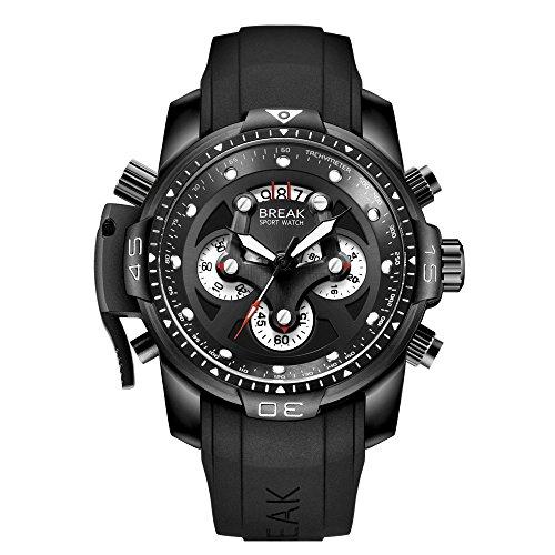 BREAK Relojes para Hombres Cronógrafo Deportivo Impermeable Reloj de Cuarzo Analógico con Banda de Goma Superior Marca de Lujo Casual Reloj Grande (Negro)