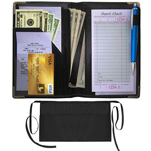 Waiters Organizer, Waiterstaff Server Book – Server Wallet with Money Holder and Zipper Pouch – Pen Holder, Check Holder, Server Wallet Pad – Restaurant Waitress Tip Chart with Waiter Apron Included